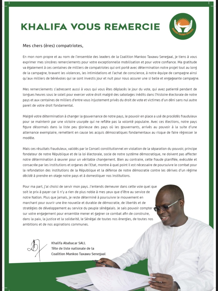 Khalifa Sall remercie les Sénégalais et se rebelle