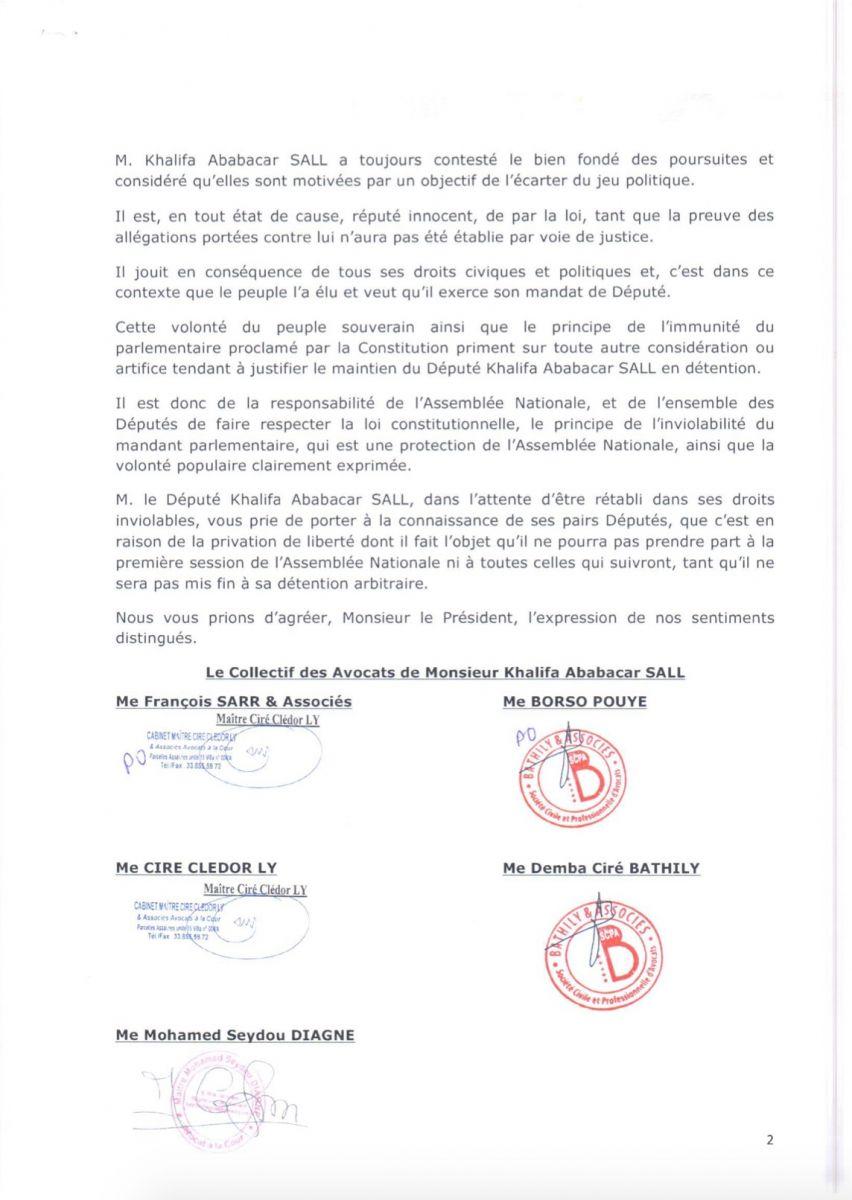 Installation des députés ce jeudi: les avocats de Khalifa Sall saisissent le président de l'Assemblée nationale