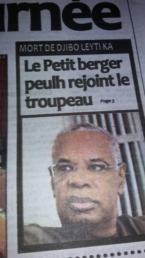 """L'irrespectueux """"titre"""" d'un journal sur Djibo Ka : Peut-on parler de """"troupeau"""" en évoquant les morts"""