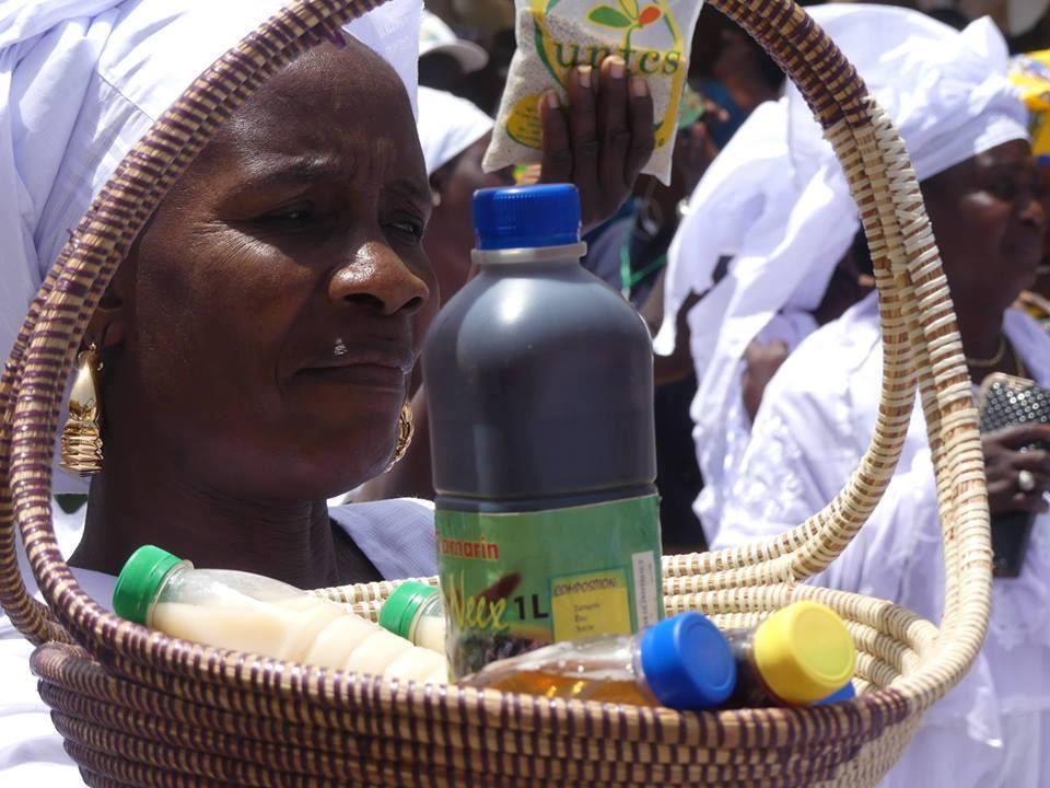 Les femmes de l'unité de transformation de Darou Khoudoss présentant quelques-uns de leurs produits lors du défilé de la fête de l'Indépendance à Mboro