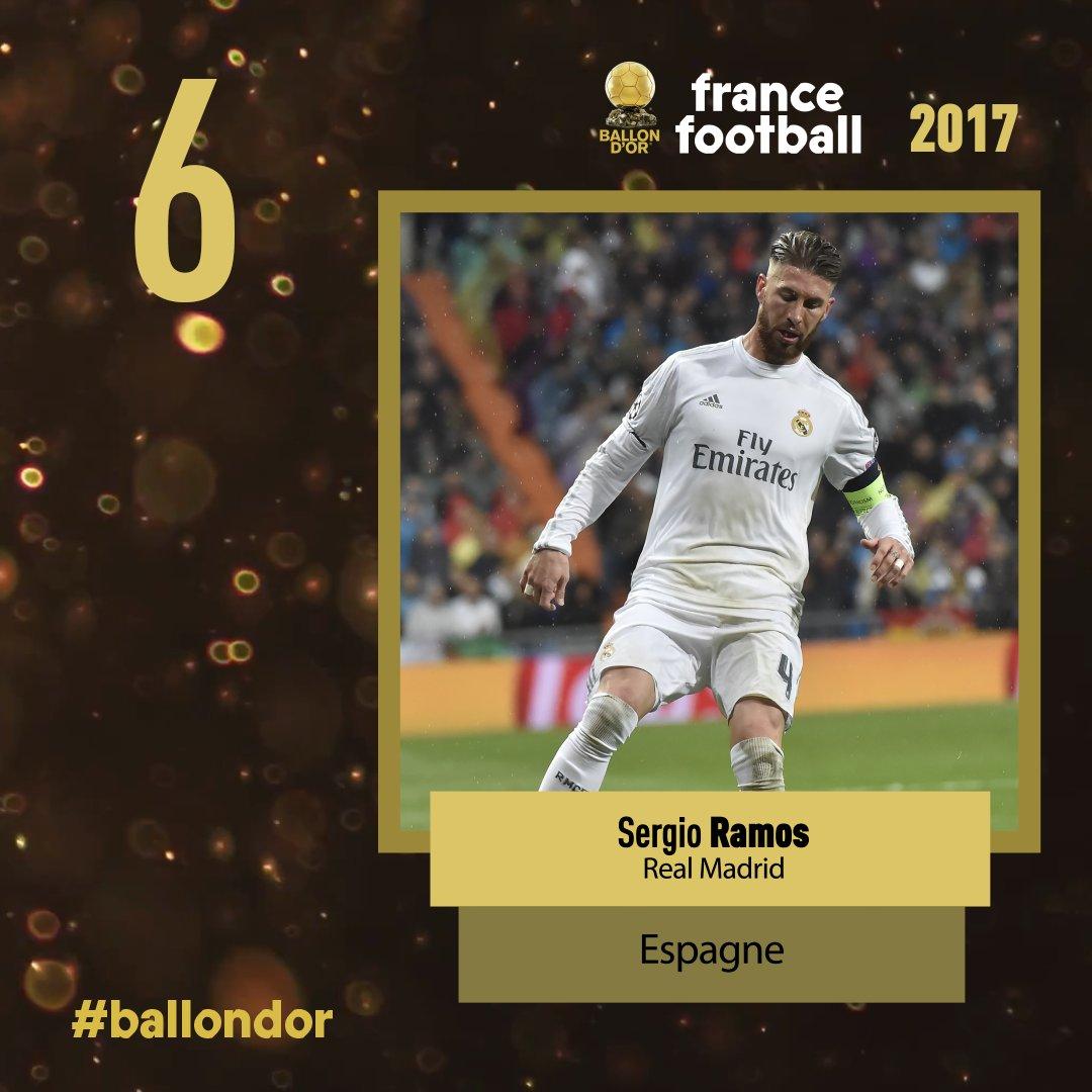 Ballon d'or France football 2017 : Sergio Ramos à la 6e place
