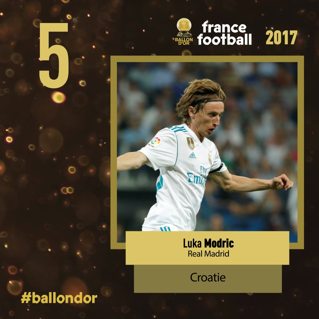 Ballon d'or France football 2017 : La 5e place est pour Modric