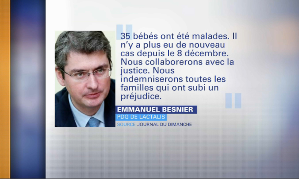 Lait contaminé: le PDG de Lactalis s'explique et promet des indemnisations