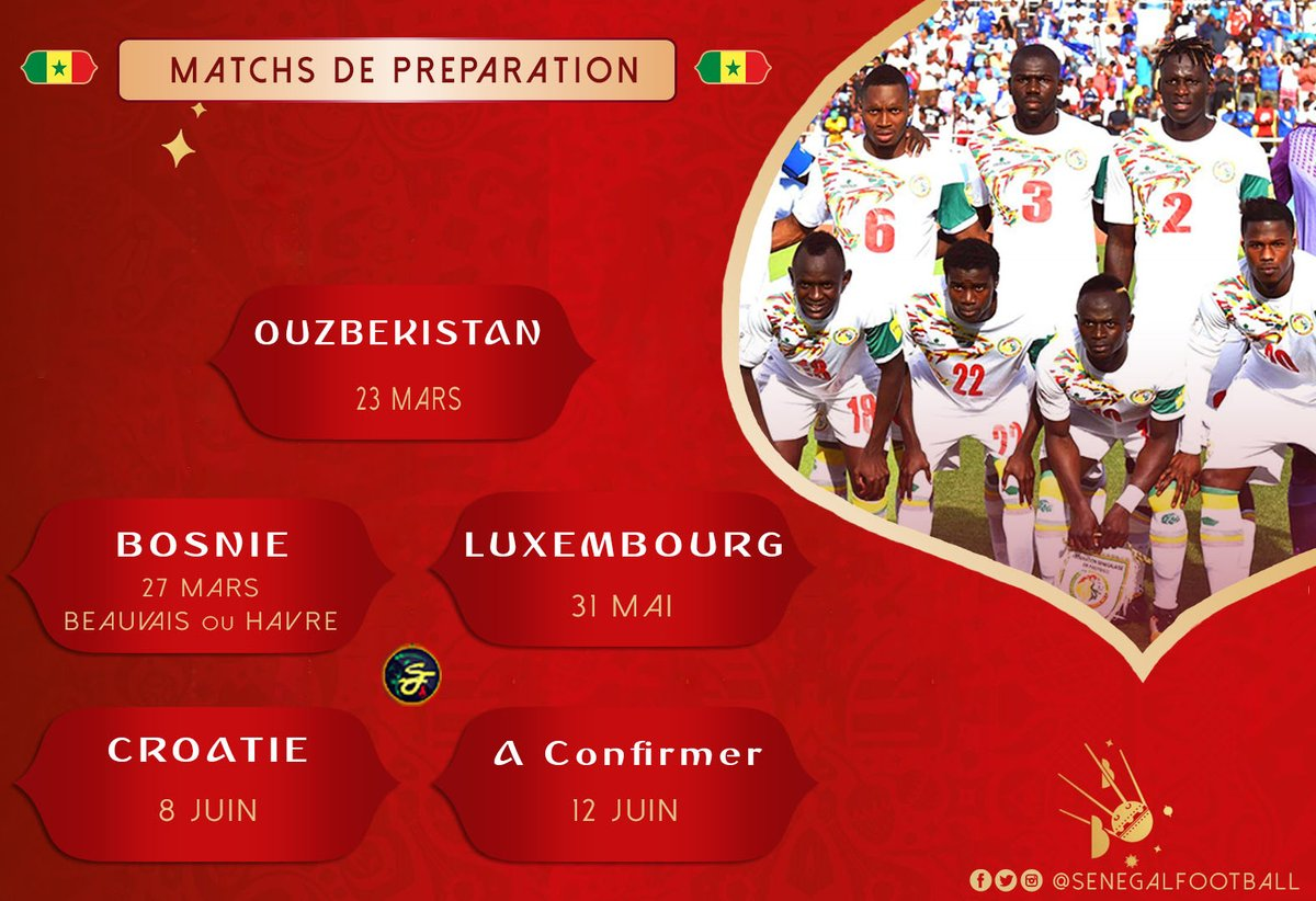 """Mondial 2018 : La Fédération livre le programme officiel des matchs amicaux des """"Lions"""""""