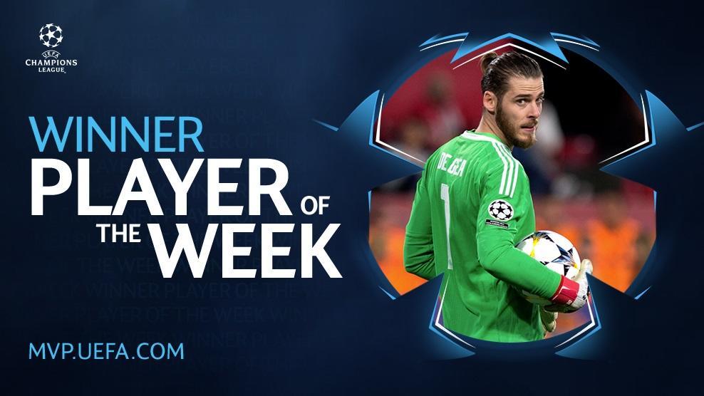 LdC : De Gea élu meilleur joueur de la semaine