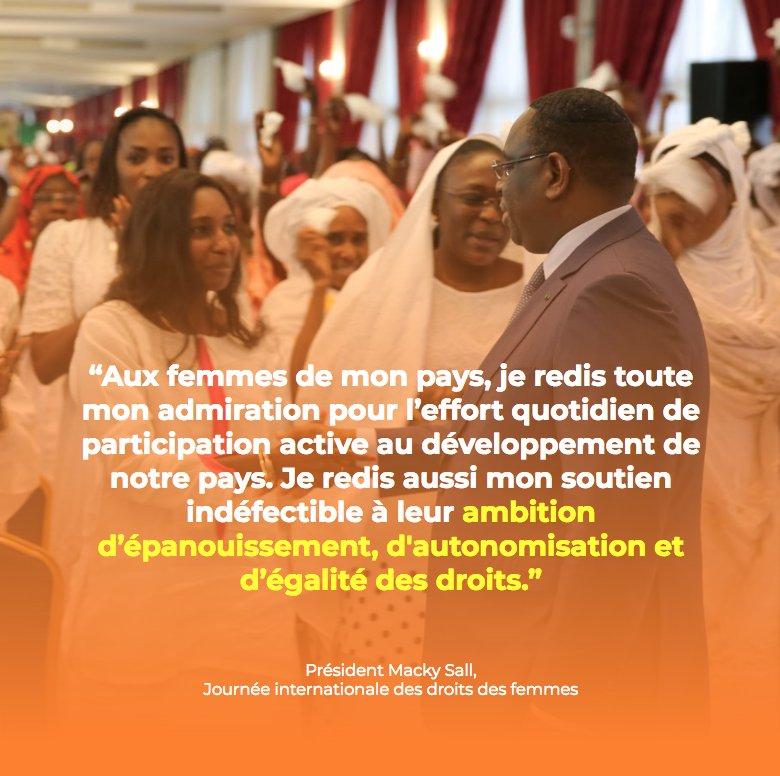 """Le message du Président Macky Sall aux femmes : """"Je salue leur engagement à briser les chaînes de la pauvreté et..."""""""