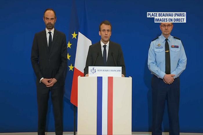 Macron livre un nouveau bilan de l'attentat à Trèbes: trois morts et seize blessés