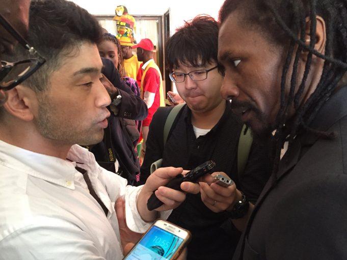 """Des journalistes japonais à Saly pour regarder l'entraînement des """"Lions"""""""
