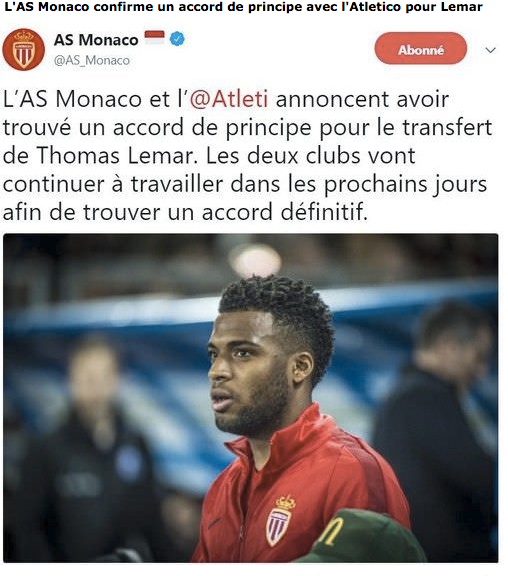 Atletico : Lemar, Monaco confirme (officiel)