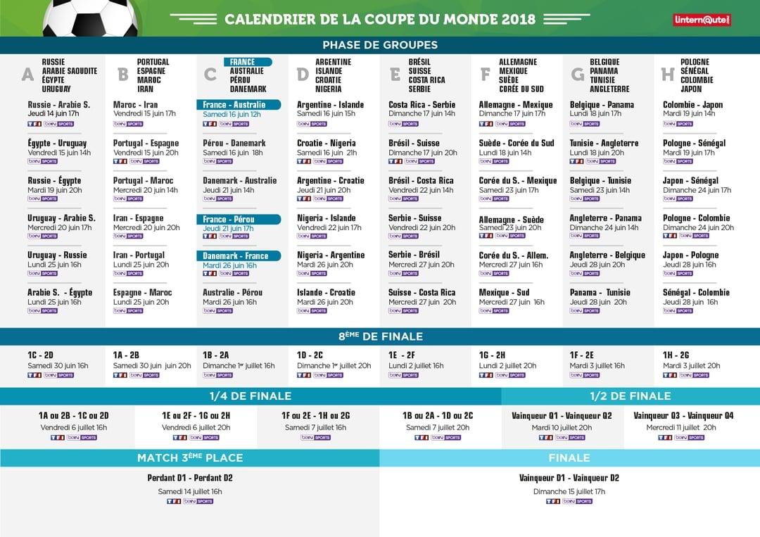 Cm2018 programme du lundi 18 juin - Calendrier coupe du monde de handball 2015 ...