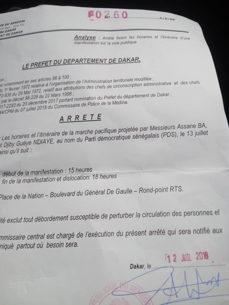 Copie de l'arrêté du préfet autorisant la marche de l'opposition