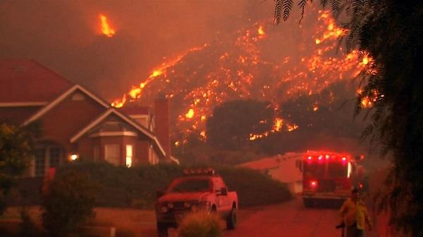 """Incendies géants en Californie : Trump incrimine les lois environnementales""""Je n'en sais pas plus que vous"""" Quid de l'idée d'une réduction des forêts visant à minorer les incendies ? L'industrie du bois fait valoir que cela minore le risque d'incendi"""