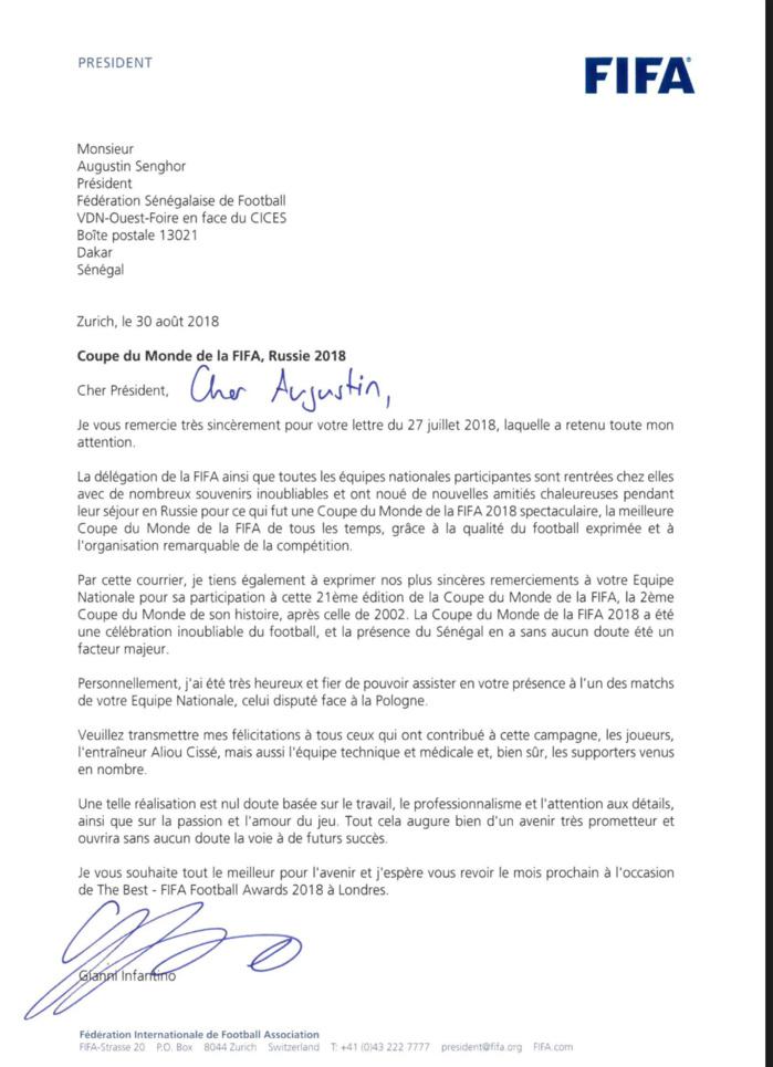 Participation à la Coupe du monde : La Fifa félicite le Sénégal dans une lettre