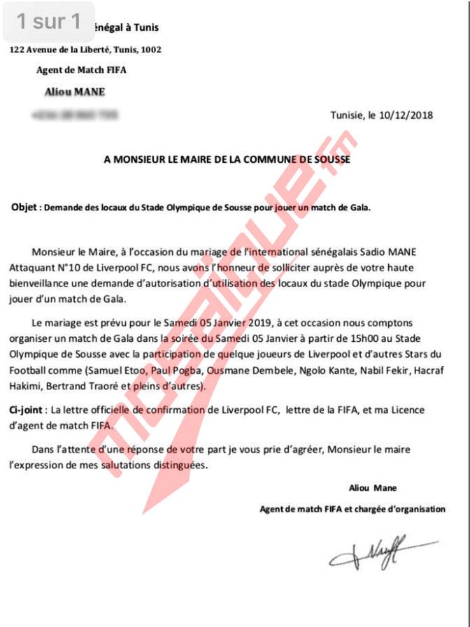 Sadio Mané a loué le stade de Sousse pour son mariage avec une Tunisienne le 5 janvier