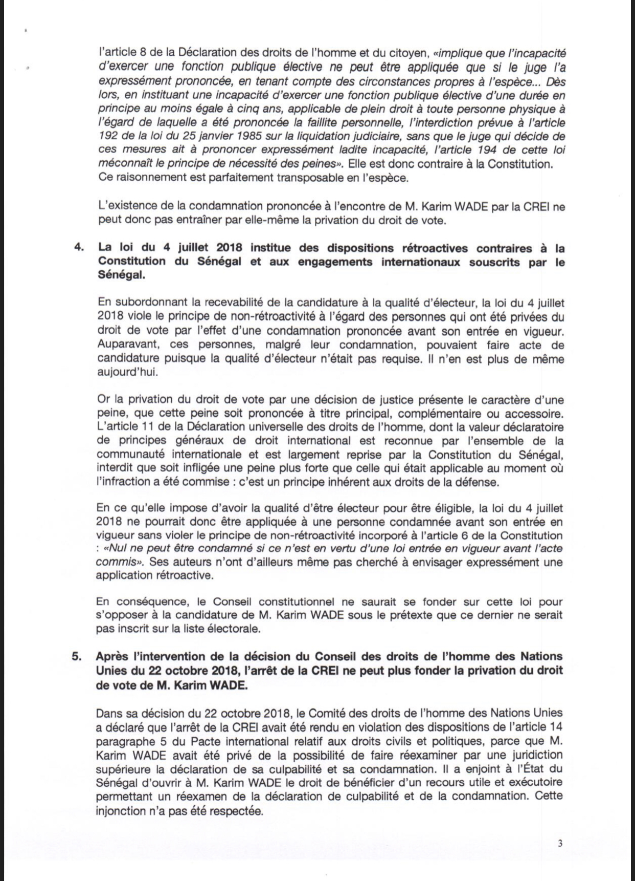 Candidature de Karim Wade: D'éminents juristes nationaux et internationaux écrivent au Conseil constitutionnel (Document)