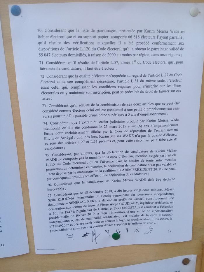 Invalidation des candidatures de Khalifa Sall et de Karim Wade: Les motifs avancés par le Conseil Conseil Constitutionnel (Documents)