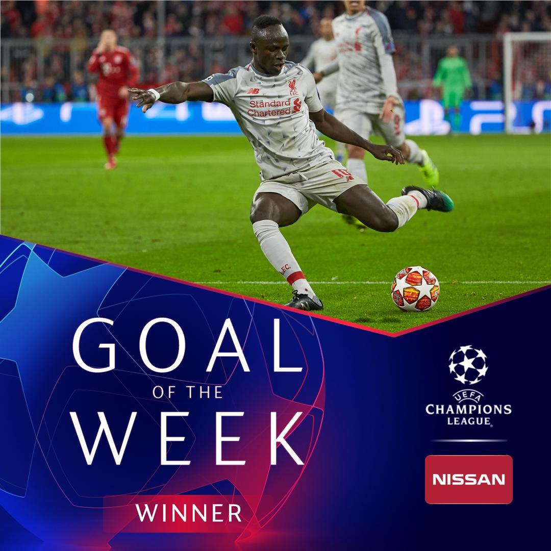 """Le premier but Sadio Mané contre le Bayern élu """"But de la semaine"""" par l'UEFA"""
