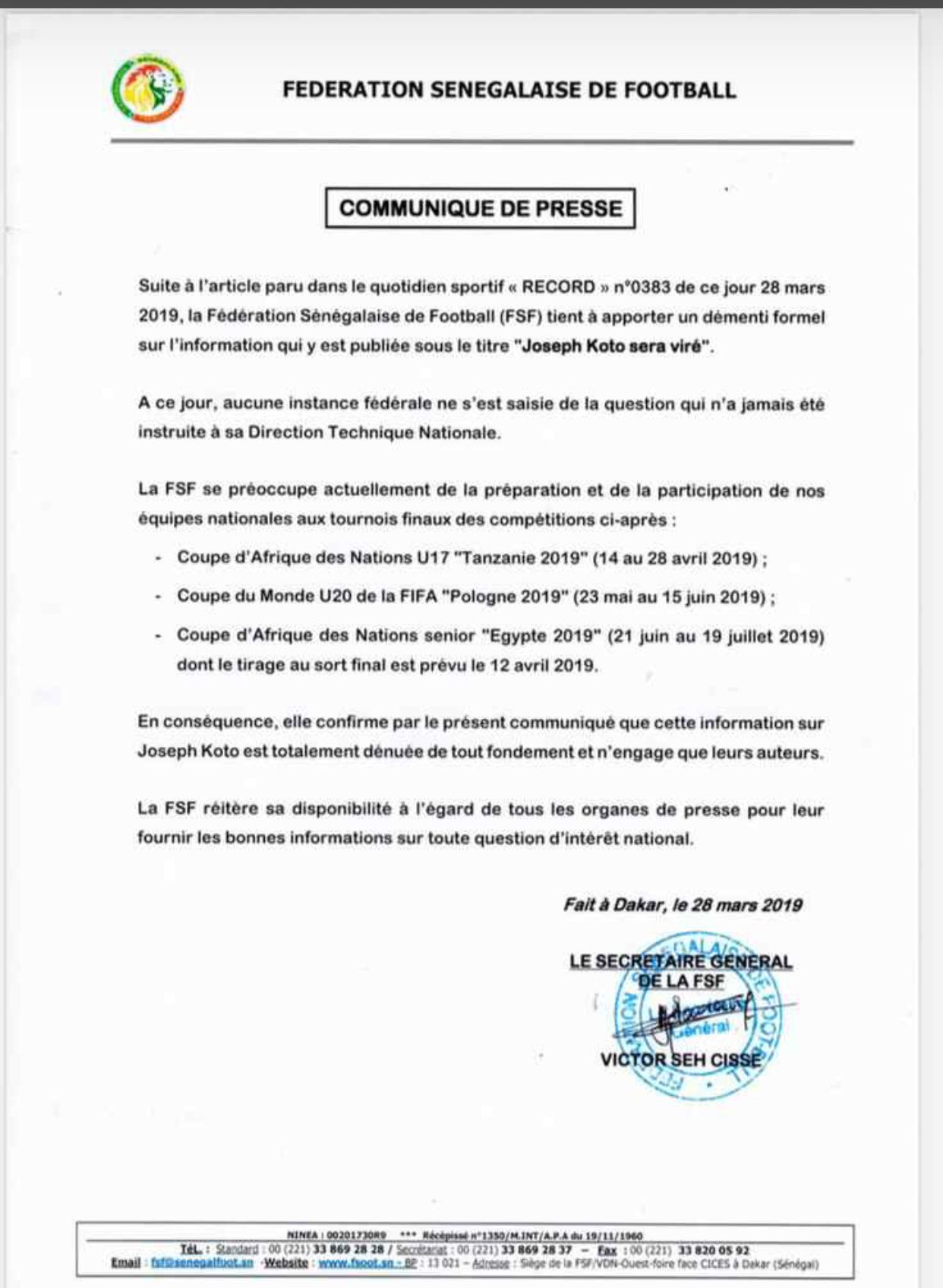 Limogeage de Joseph Koto: Fédération sénégalaise de football dément le journal Record