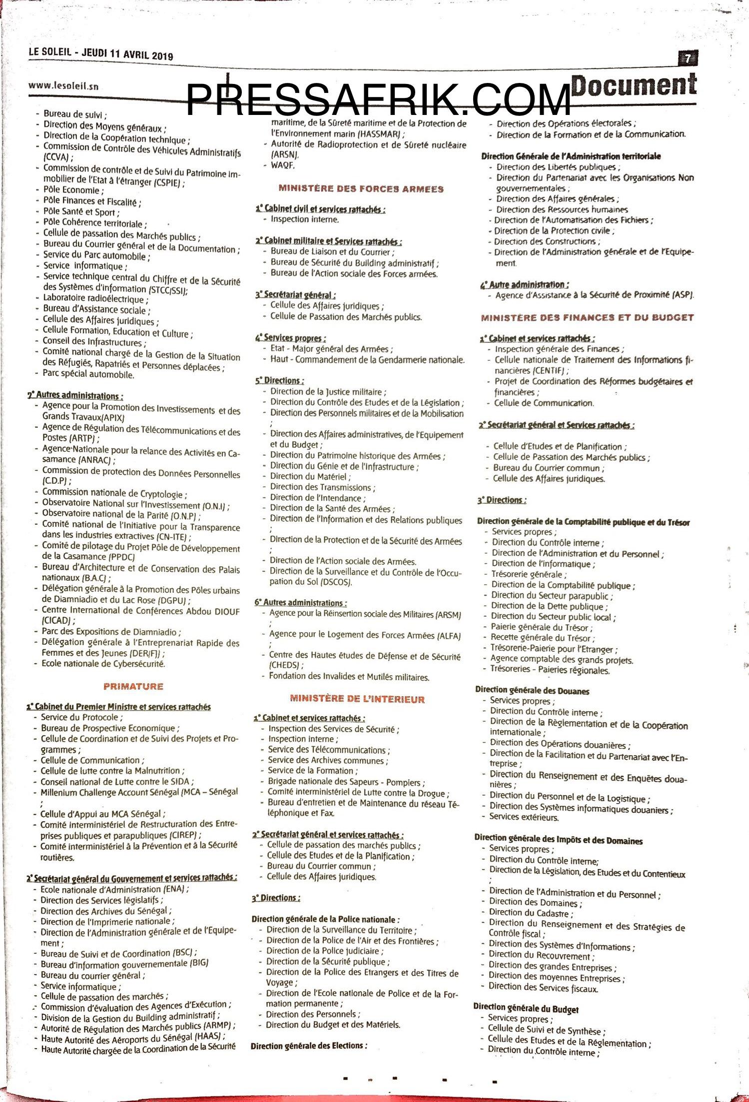 Décret de répartition des services de l'Etat: Découvrez les ministères les mieux servis et ceux qui sont mal lotis (Document)