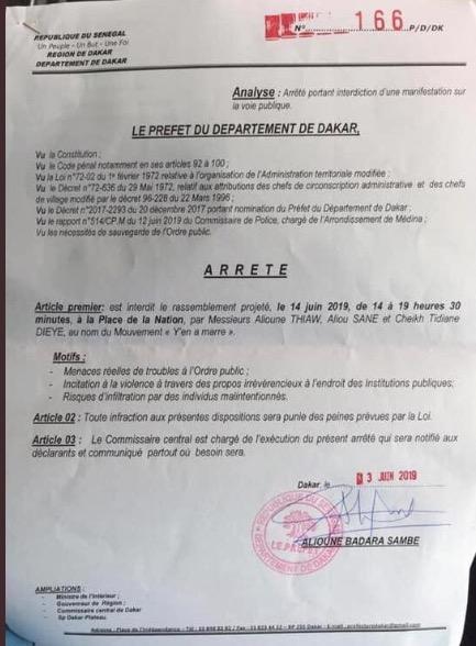 Interdiction du Rassemblement de «Aar Li Ñu Bok»: les raisons évoquées dans l'arrêté du Préfet de Dakar
