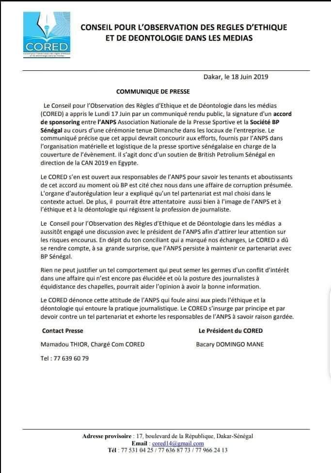 Partenariat avec BP pour la CAN: le CORED fustige l'attitude de l'ANPS