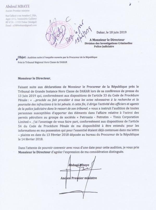 Appel à témoin du procureur sur le scandale Petro-Tim: la lettre de Abdoul Mbaye au chef de la DIC