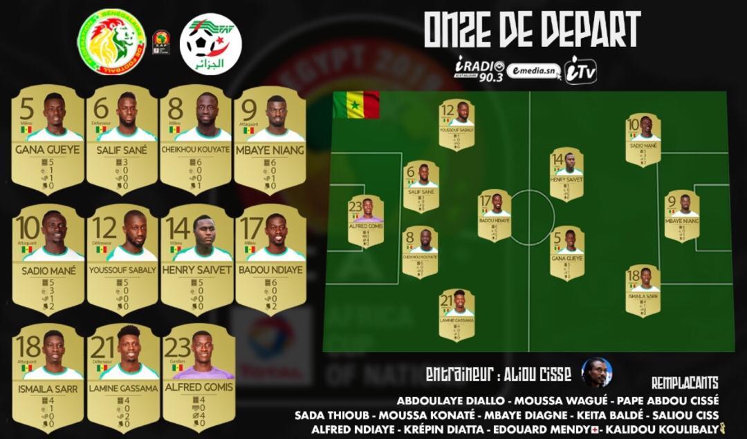 #Finale/CAN2019 : Officiel ! Le onze de départ du Sénégal contre l'Algérie