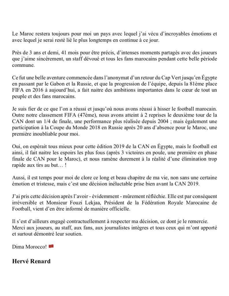 Urgent - Hervé Renard présente sa démission