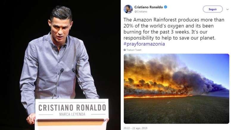 CR7 demande de l'aide pour l'incendie en Amazonie