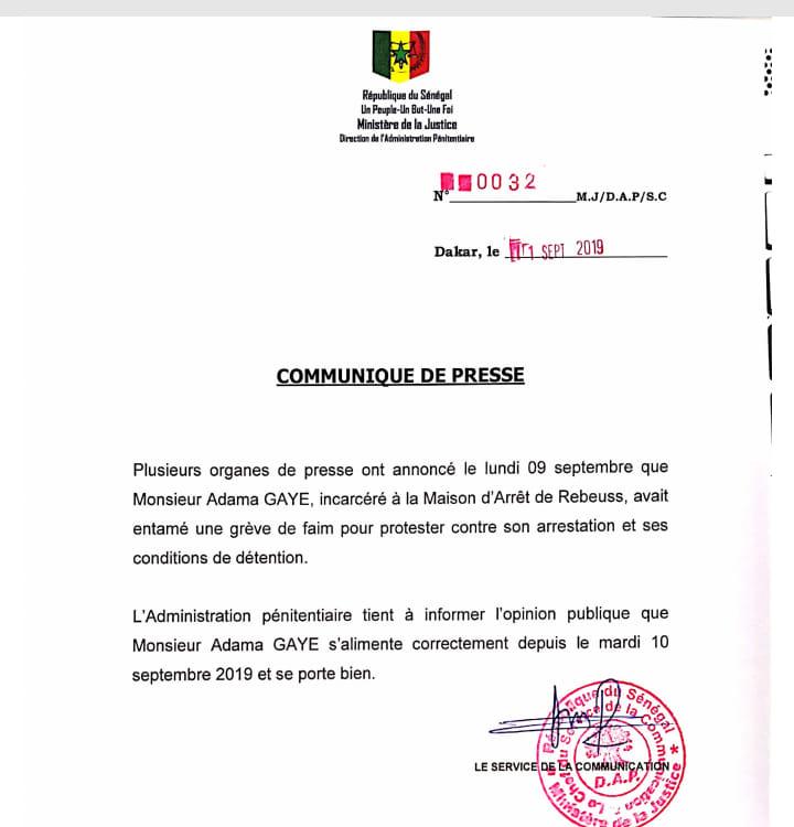 Grève de la faim de Adama Gaye: le communiqué très bizarre de l'administration pénitentiaire