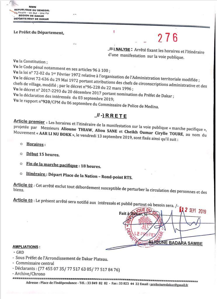 """La marche de """"Aar Li Nu Bokk"""" autorisée par le Préfet de Dakar"""