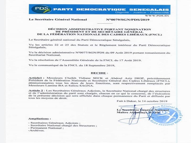 Président et Secrétaire général de la FNCL : Wade nomme Lamine Bâ et Saliou Sagna