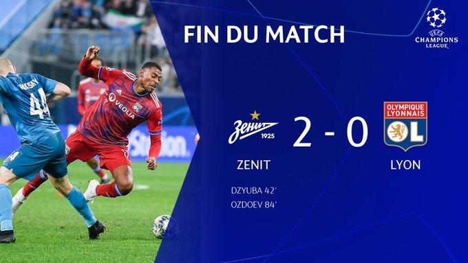 #LigueDesChampions - Lyon n'a plus son destin en main après sa défaite contre Zénith