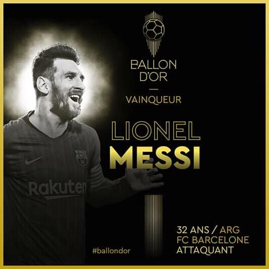 Messi, Ballon d'or pour la sixième fois