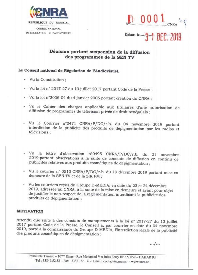 Le CNRA suspend les programmes de la SEN TV
