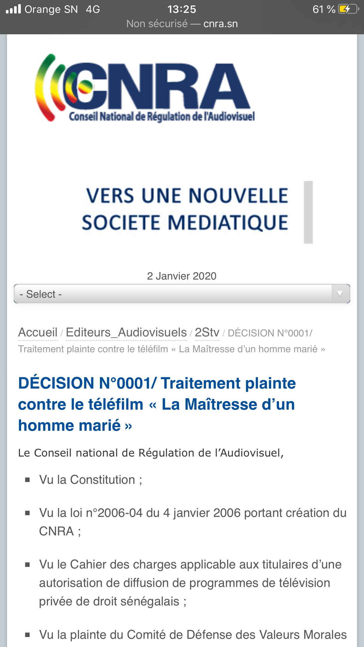 """Numéro de Décision  Traitement plainte """"maîtresse d'un homme marié"""": N°0001 du 29 mars 2019"""