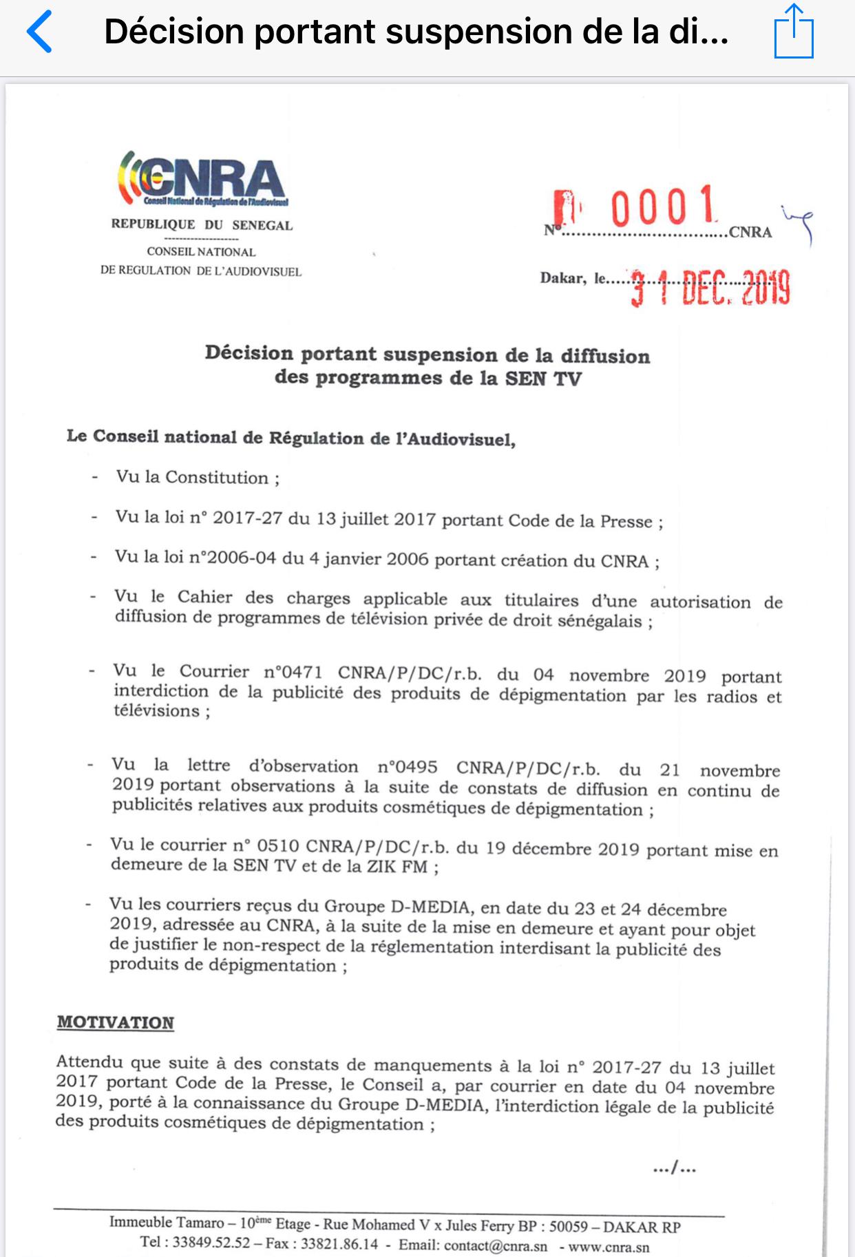 """Numéro Décision """"Suspension programmes Sen Tv"""": N°0001 du 31 décembre 2019"""