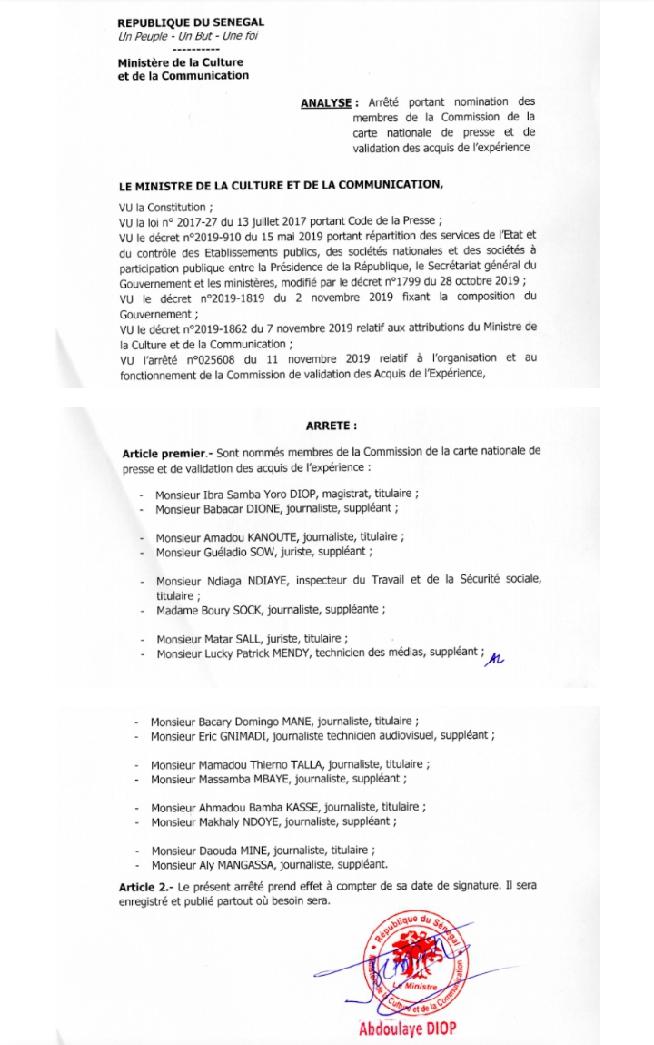 Document-Commission de délivrance de la Carte nationale de presse : voici les noms des 16 membres