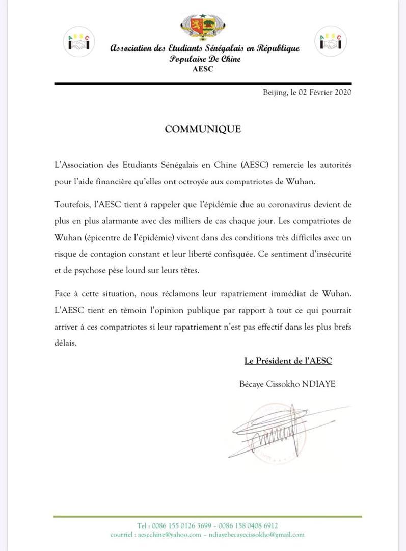 L'Association des étudiants sénégalais en Chine réclame le rapatriement immédiat de leurs camarades de Wuhan