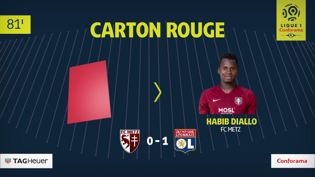 #Ligue1 - Lyon s'impose dans la confusion à Metz, Habib Diallo expulsé pour avoir giflé Marçal