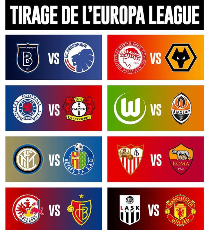Voici le tirage au sort des huitièmes de finale de la Ligue Europa