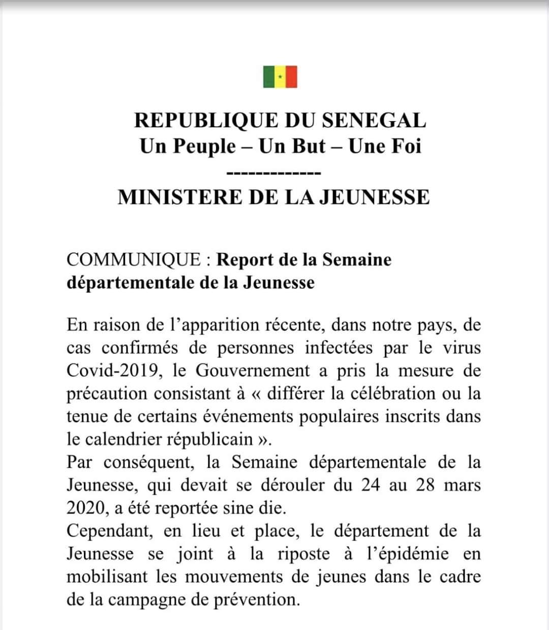 Le ministre de la Jeunesse reporte la «Semaine départementale» qui était prévue du 24 au 28 mars