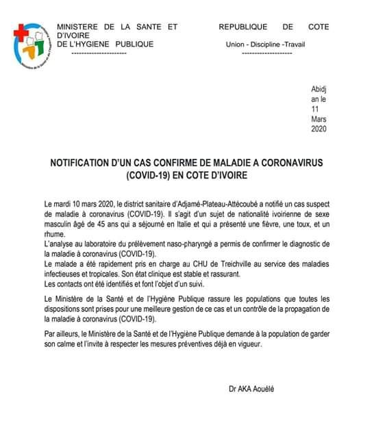 #Coronavirus: la Cote d'Ivoire enregistre son premier cas confirmé