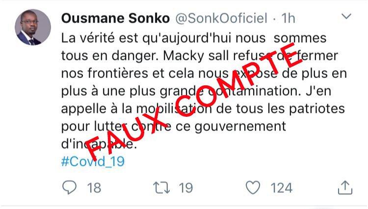 #Coronavirus - Ousmane Sonko rompt le silence pour démentir un faux compte Twitter en son nom