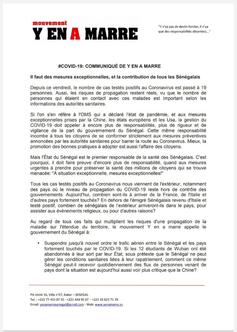 #Coronavirus - Le mouvement Y'en A Marre appelle le Gouvernement à interdire toute forme de rassemblements