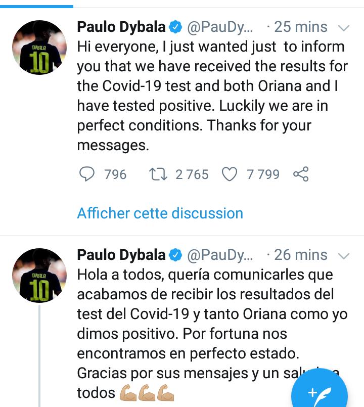 #Coronavirus: Paulo Dybala et sa femme testés positifs