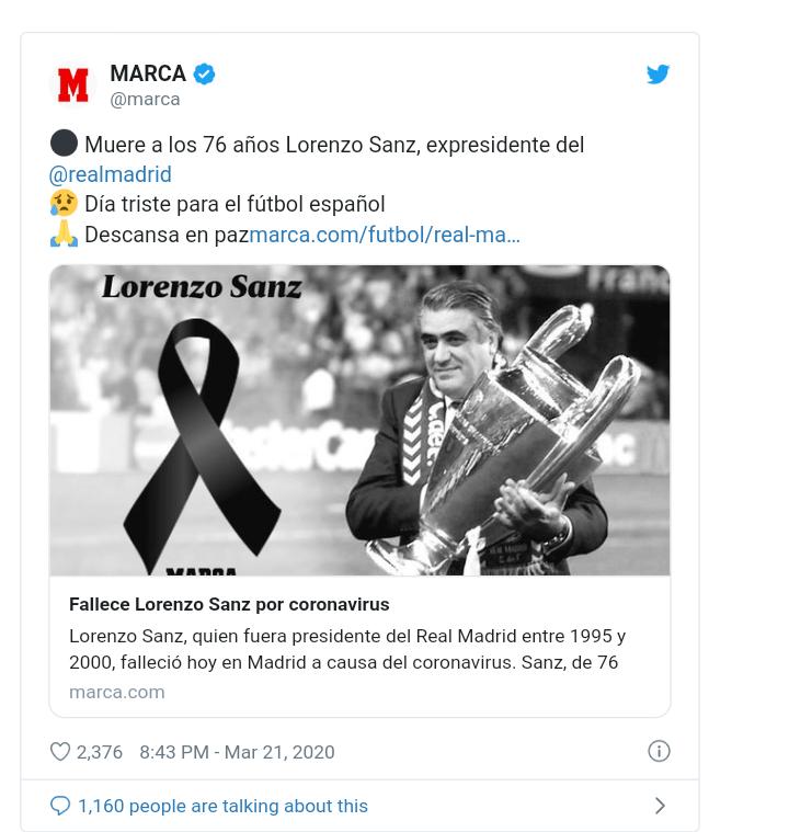 Coronavirus: l'ancien président du Réal, Lorenro Sanz décède