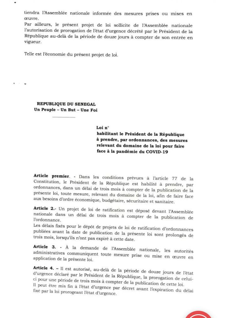 #Covid19sn: voici le projet de loi habilitant le président Macky Sall à gérer par ordonnance (document)