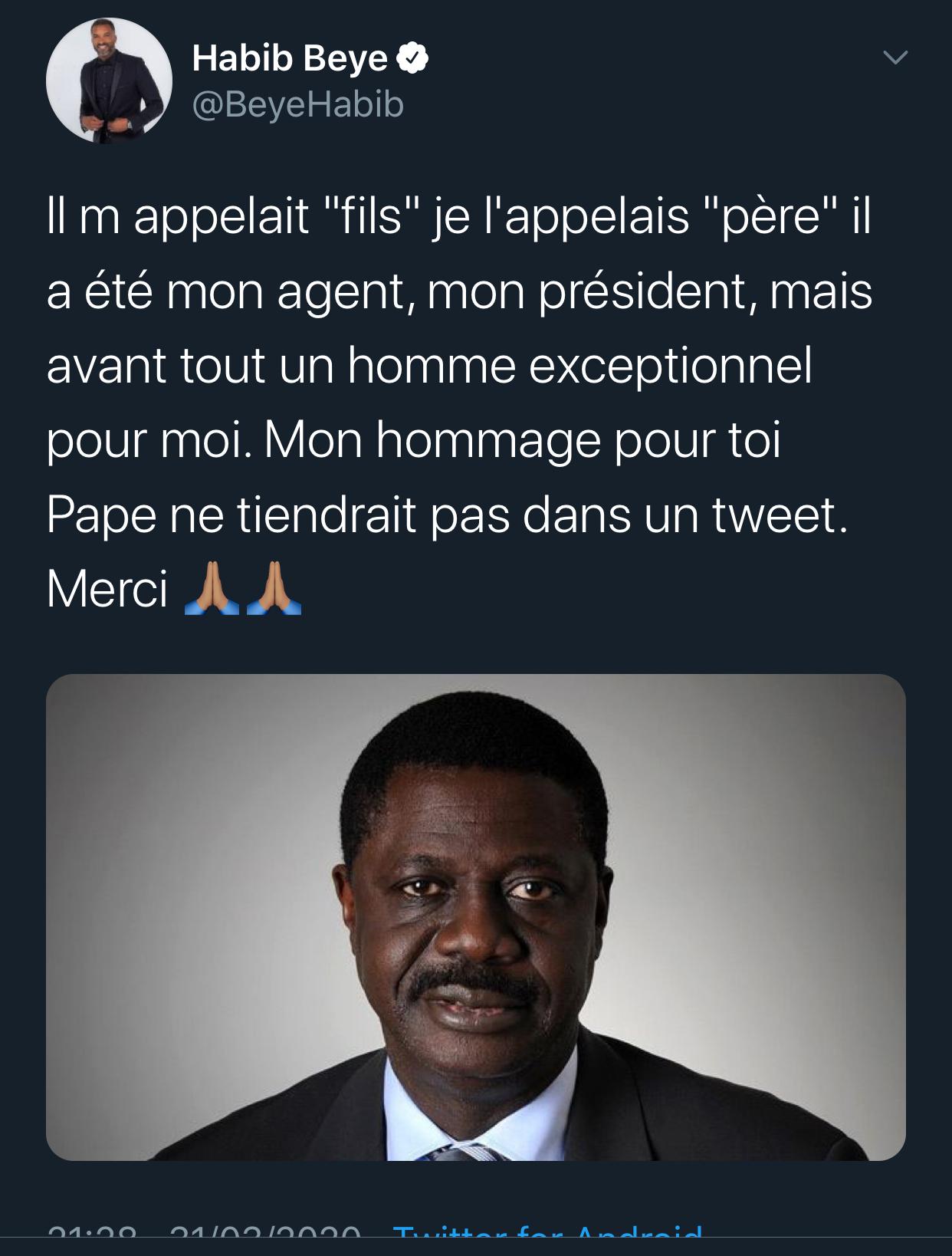 Décès de Pape Diouf: Habib pleure un «père»