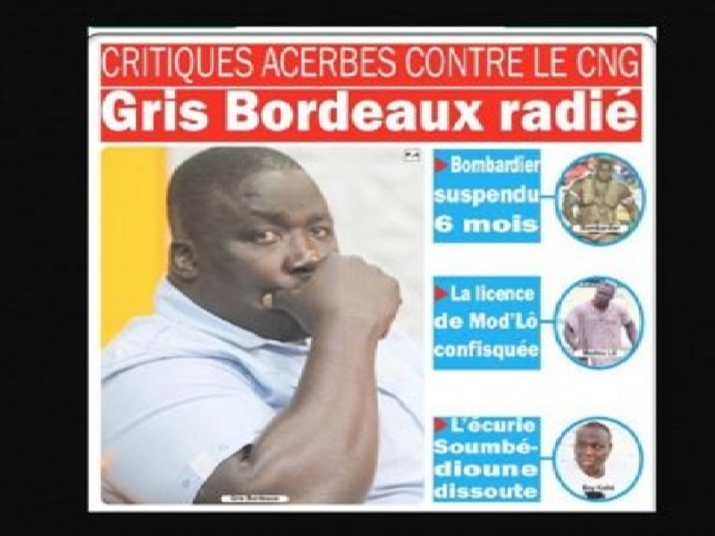 Sanction du Cng : Gris Bordeaux radié, Bombardier suspendu, la licence de Modou Lô confisquée